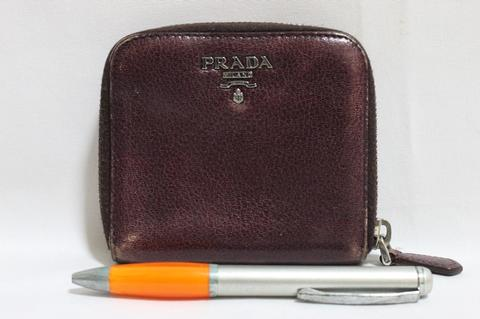 Dompet wallet PRADA P95 zip around violet second bekas original asli
