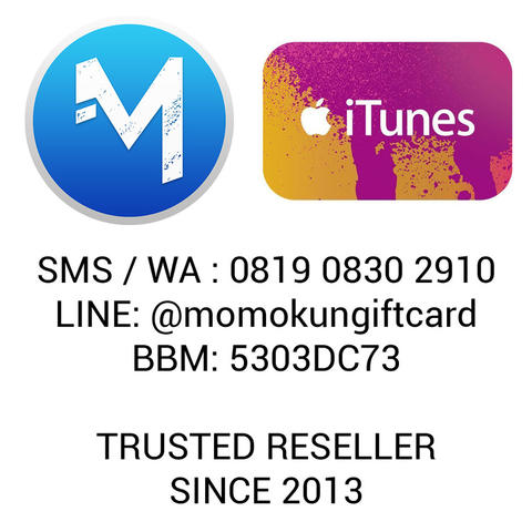 Jual iTunes Gift Card IGC Indo Certificate iDevice add line @momokungiftcard