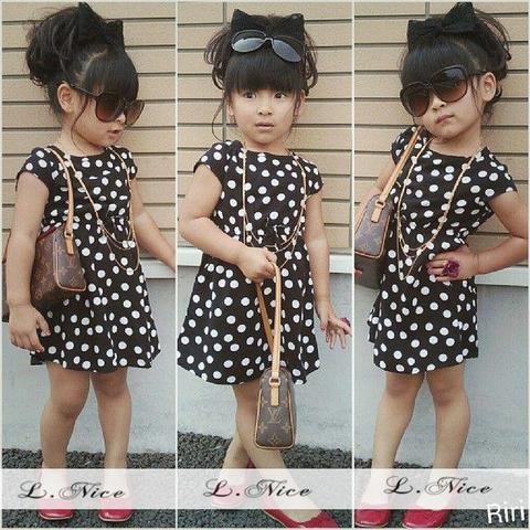 DRESS L-NICE POLKA BLACK(RSBY-873)