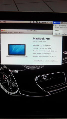MACBOOK PRO 13 INCH MD313 Core i5 2.4 GHz - RAM 4 GB - VGA Intel HD 3000 - HD 500 GB