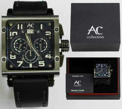 HARGUMS JAM TANGAN ALEXANDRE CHRISTIE AC6195 BLACK WHITE ORIGINAL