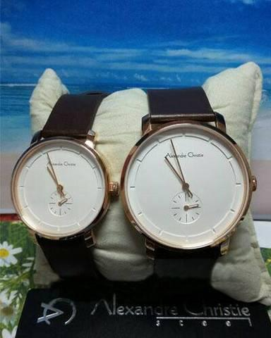 HARGUMS JAM TANGAN ALEXANDRE CHRISTIE AC8485 DARK BROWN ROSEGOLD ORIGINAL