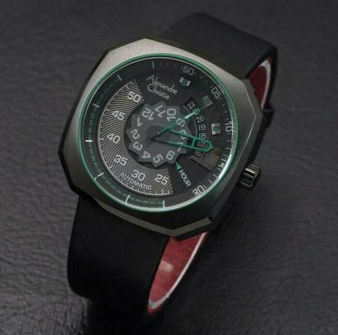 HARGUMS JAM TANGAN ALEXANDRE CHRISTIE AC3032 BLACK GREEN ORIGINAL