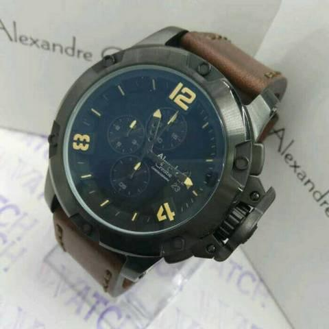 HARGUMS JAM TANGAN ALEXANDRE CHRISTIE AC6295 DARK BROWN CREAM ORIGINAL