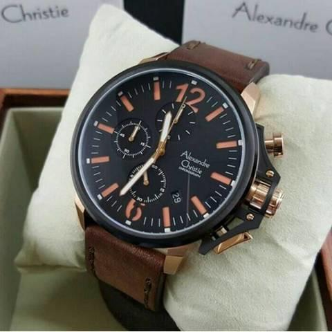 HARGUMS JAM TANGAN ALEXANDRE CHRISTIE AC6374 DARK BROWN ROSEGOLD ORIGINAL
