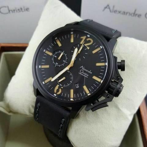HARGUMS JAM TANGAN ALEXANDRE CHRISTIE AC6374 BLACK CREAM ORIGINAL