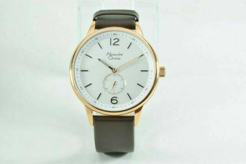 HARGUMS JAM TANGAN ALEXANDRE CHRISTIE AC8466 DARK BROWN ROSEGOLD ORIGINAL