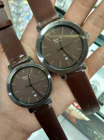 HARGUMS JAM TANGAN ALEXANDRE CHRISTIE COUPLE AC2555 BROWN ORIGINAL