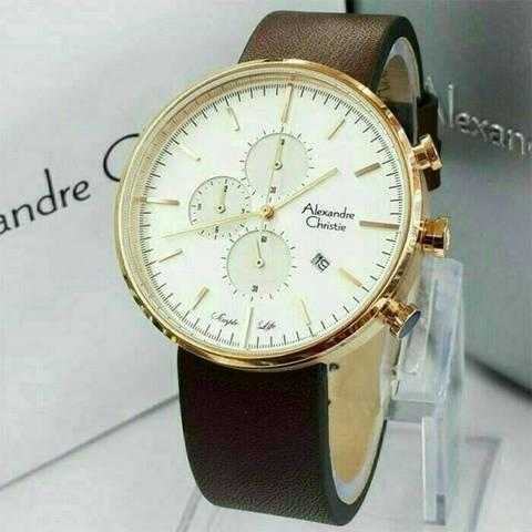 HARGUMS JAM TANGAN ALEXANDRE CHRISTIE AC6415 DARK BROWN ROSEGOLD ORIGINAL