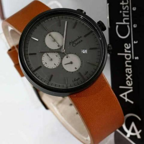 HARGUMS JAM TANGAN ALEXANDRE CHRISTIE AC6415 BROWN BLACK ORIGINAL