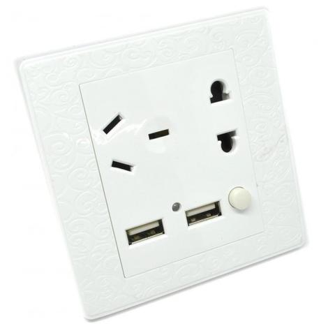 HARGUMS Saklar Colokan Dinding Wallplug Universal with 2 USB + On/Off Switch