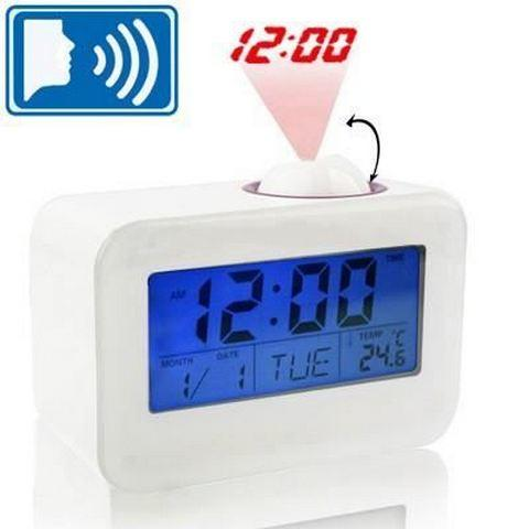 Jam Meja Digital LED Sound Talking Controlled Projector Clock