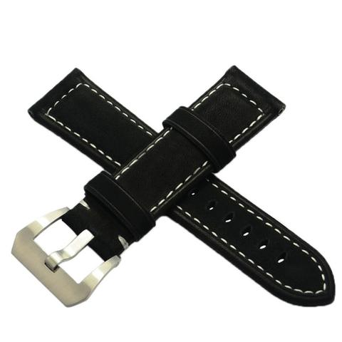Black Suede Genuine Smooth Leather Watch Strap Tali Jam PANERAI Hitam