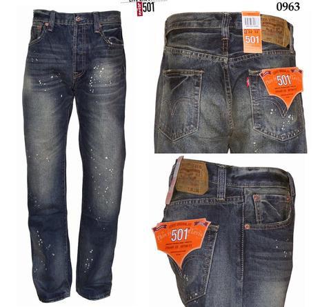 Celana Jeans Levis 501 Regular fit import USA - Bercak - Biru wash