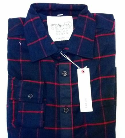 Kemeja Flannel ESPRIT Navy Strip Red