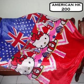 SELIMUT BULU HALUS KARAKTER HELLO KITTY FLAG ENGLAND 150x200 KS-IS074