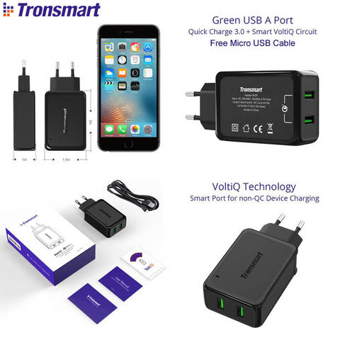 Tronsmart Quick Charge 3.0 36W Dual Port Charger W2TF (Qualcomm Certified)