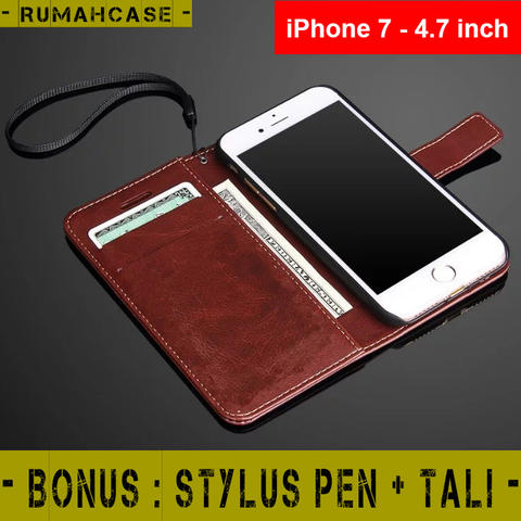 "iPhone 7 - 4.7"" - Flip Cover Wallet Leather Case Casing Dompet Kartu"