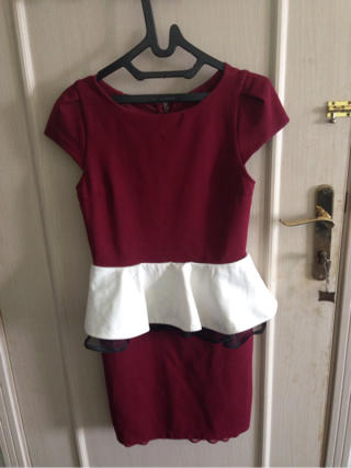 preloved peplum dress maroon