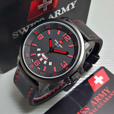 Jam Tangan Pria / Cowok Swiss Army RH338 Black List Red Original