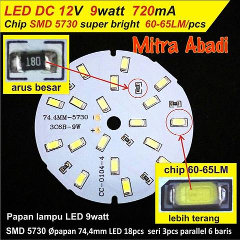 Papan + LED SMD 5730 9 Watt 720 mA DC 12 Volt