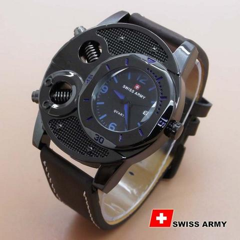 Jam Tangan Pria / Cowo Best Seller Swiss Army Leather Dark Brown Blue