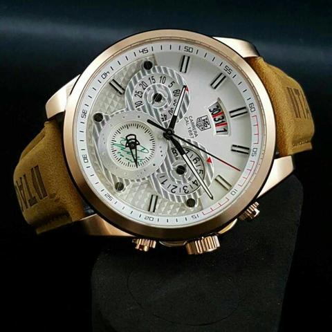 TAG HEUER TH011 BROWN ROSEGOLD WHITE + BOX KAYU EXCLUSIVE