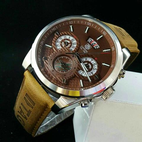 TAG HEUER TH011 BROWN SILVER + BOX KAYU EXCLUSIVE