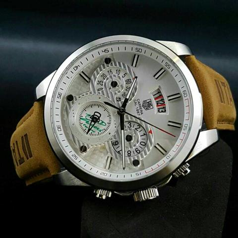 TAG HEUER TH011 BROWN SILVER WHITE + BOX KAYU EXCLUSIVE