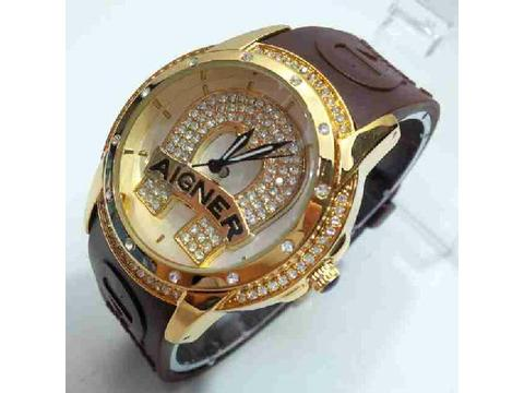 Aigner Rubber Brown Gold