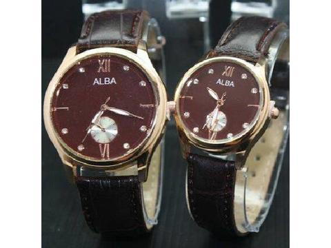 GOJEK REKBER*Jam Tangan Alba Couple Al010 Dark Brown