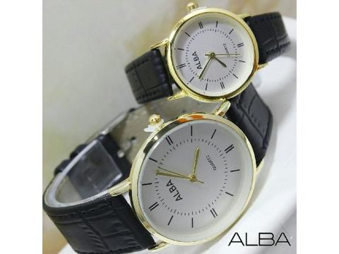GOJEK REKBER*Jam Tangan Couple Alba Al016 Black Gold