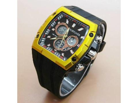 GOJEK REKBER*Jam Tangan Fortuner AD9018 Black Yellow Original