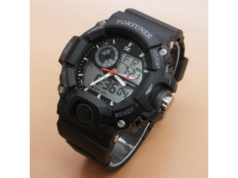 GOJEK REKBER*Jam Tangan Fortuner AD-1501 Black List Grey Original