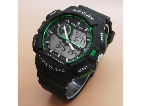 GOJEK REKBER*Jam Tangan Fortuner AD-1604 Black List Green Original