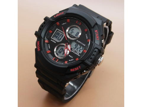 GOJEK REKBER*Jam Tangan Fortuner J-877AD Black List Red Original