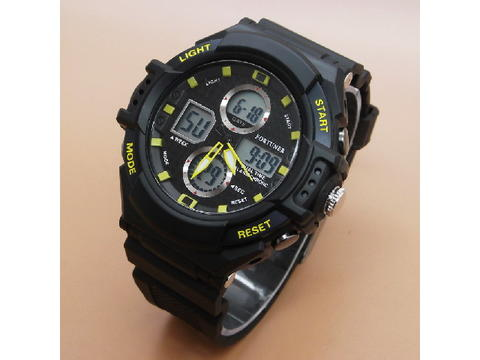 GOJEK REKBER*Jam Tangan Fortuner J-877AD Black List Yellow Original