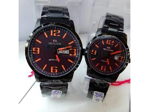 GOJEK REKBER*Jam Tangan Hegner Couple 388 Black Orange Original