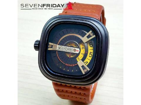GOJEK REKBER*Jam Tangan Sevenfriday V-Series Light Brown Yellow Dial