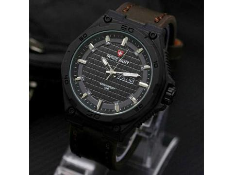 GOJEK REKBER*Jam Tangan Swiss Army Sa084 Dark Brown