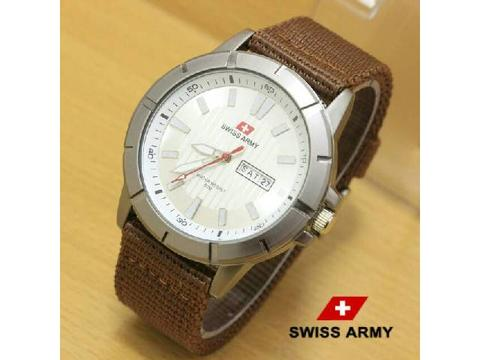 GOJEK REKBER*Jam Tangan Swiss Army Canvas Sc045 Brown