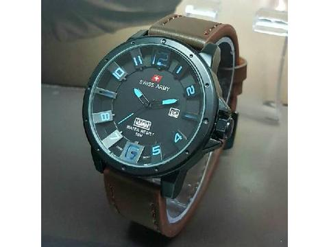 GOJEK REKBER*Jam Tangan Swiss Army Sa7971 Dark Brown Blue