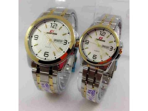 GOJEK REKBER*Jam Tangan Swiss Navy Couple Sn5861 Combi Gold Original