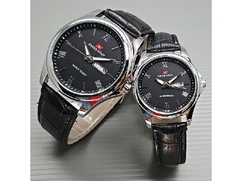 Jam Tangan Couple Swiss Army SA Daydate Romawi Leather Black Silver
