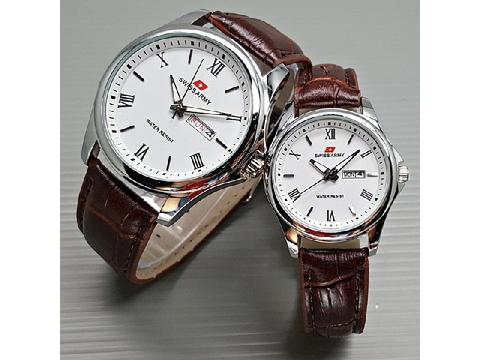 Jam Tangan Couple Swiss Army SA Daydate Romawi Leather Brown Silver