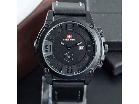 Jam Tangan Pria / Cowok Murah Swiss Army Big One Leather Black