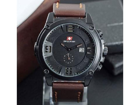Jam Tangan Pria / Cowok Murah Swiss Army Big One Leather Dark Brown