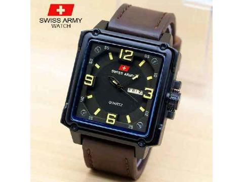 Jam Tangan Pria / Cowok Swiss Army Daydate Segi Leather Dark Brown