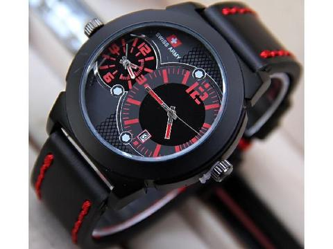 Jam Tangan Pria / Cowok Swiss Army SK250 Dual TIme Leather Black Red