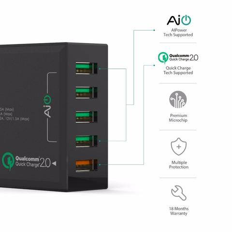 ORIGINAL AUKEY 54W 5-Port USB Desktop Charging Station with Qualcomm Quick Charge 2.0